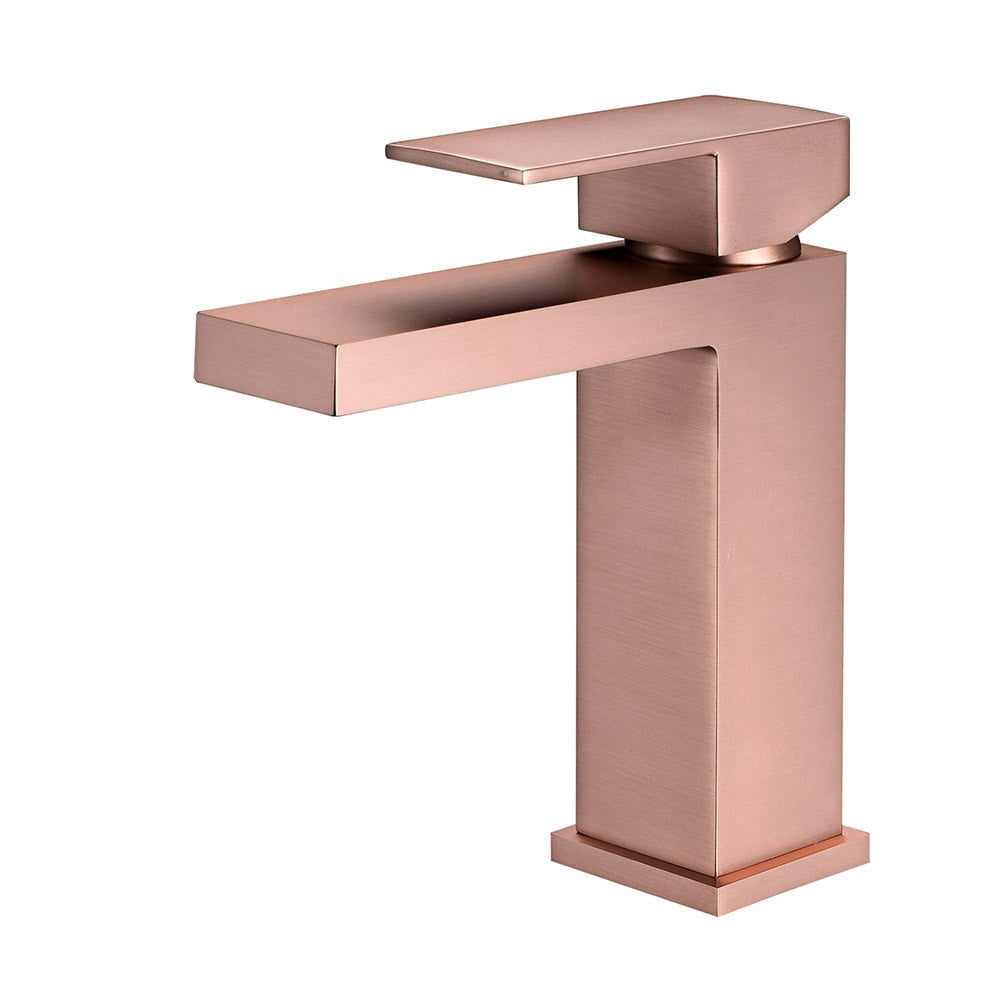 Brushed Rose Gold/Brushed Gold Single Hole Bathroom Faucet