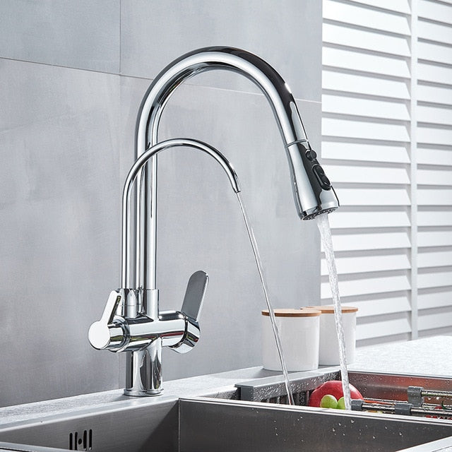 2 Way Water Filter Faucet kitchen faucets Dual Handle Filter faucet Mixer 360 Degree rotation Water Purification Feature Taps