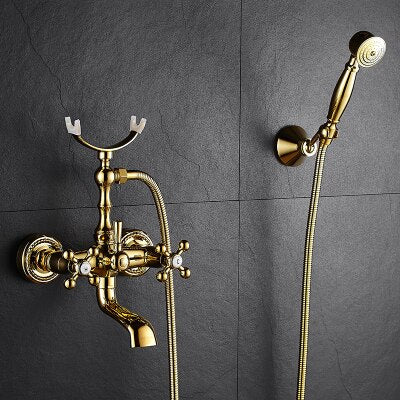 Gold Wall-mounted Bathtub Filler with Porcelain Handles