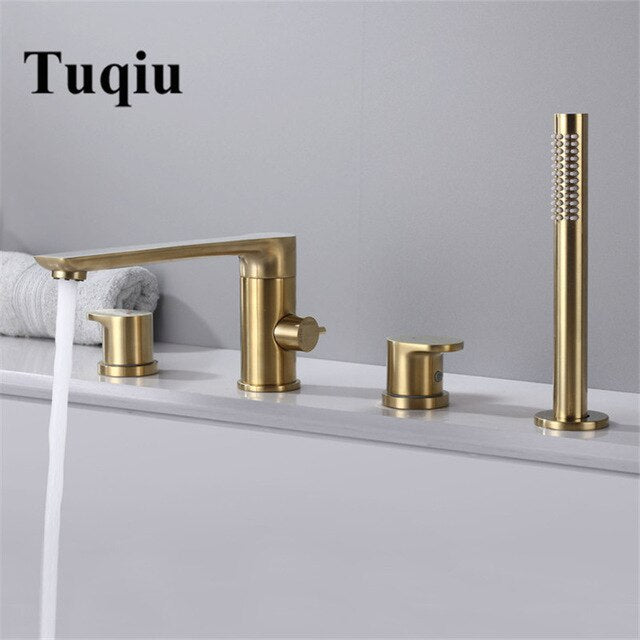Matte Black-Brushed Gold 4 Pieces Deck Mount Bathtub Filler faucet Set