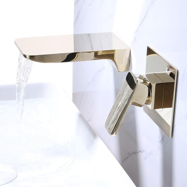 Waterfall Spout Basin Faucets Dual Hole Widespread Lavatory Sink Mixer Crane Single Lever Bathroom Washing Basin Mixer Tap