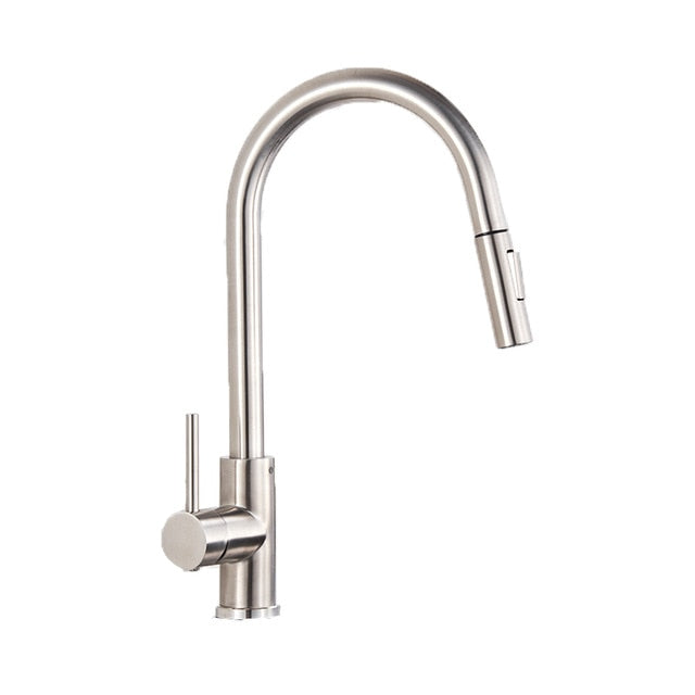 Brushed Gold- Matte Black Kitchen Faucet Manual Lever Dual Mode Pull Out Sprayer