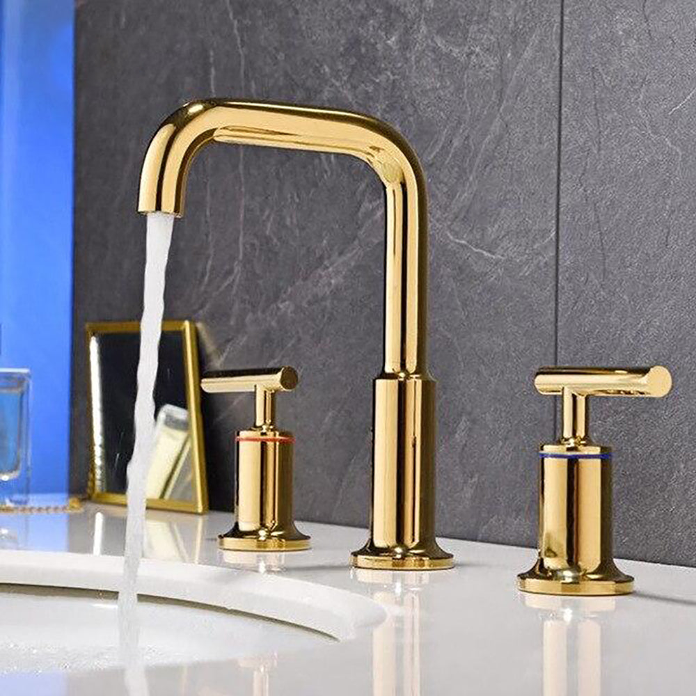 Polished Gold- Rose Gold - Matte Black 8 Inch Wide Spread Lavatory Faucet