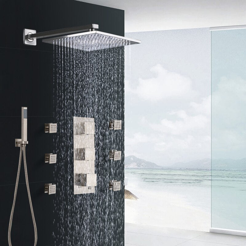 Brushed Nickel Square Design 3 Way Mixer Thermostatic Shower With 6 Body jet Massage Sprayer Set
