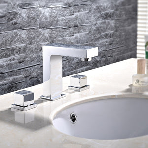 Chrome Modern Square Handles Design 8 Inch Wide Spread Lavatory Faucet