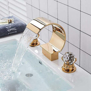 Waterfall 8 Inch Wide Spread Faucet With Crystal Balls Handle