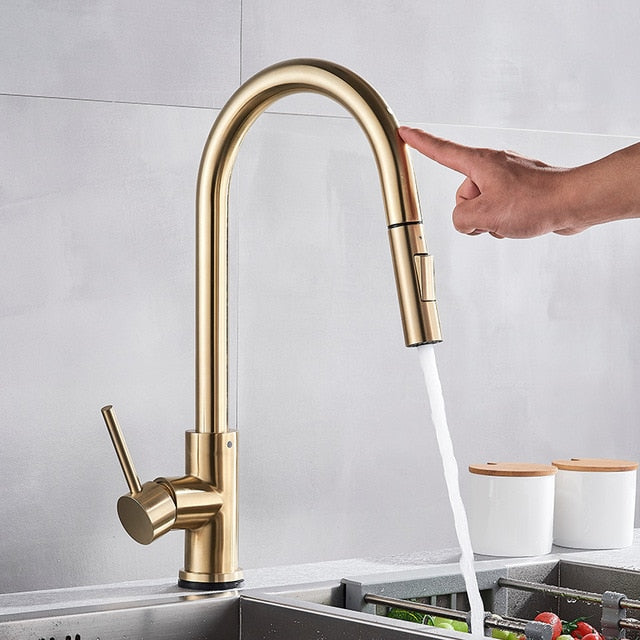 Matte Black - Brushed Gold Touch Less Sensor Kitchen Faucet Pull Out Dual Sprayer Mode