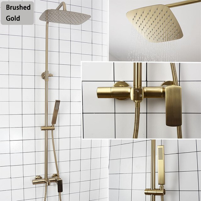 Brushed Gold- Matte Black Exposed 2 Way Shower System