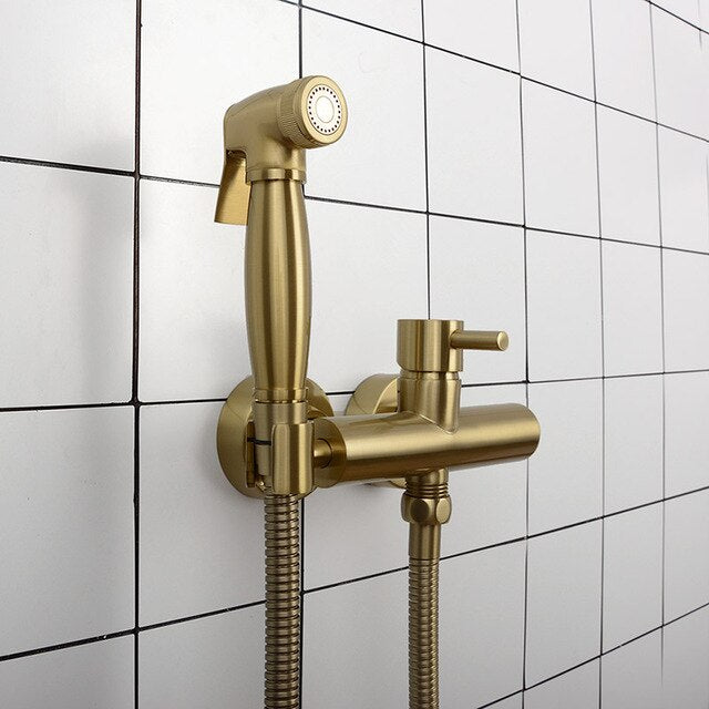 Brushed Gold-Black-Chrome Hot & Cold Manual Temperature Mixer Wall Mounted Hand Held Bidet Spayer Kit