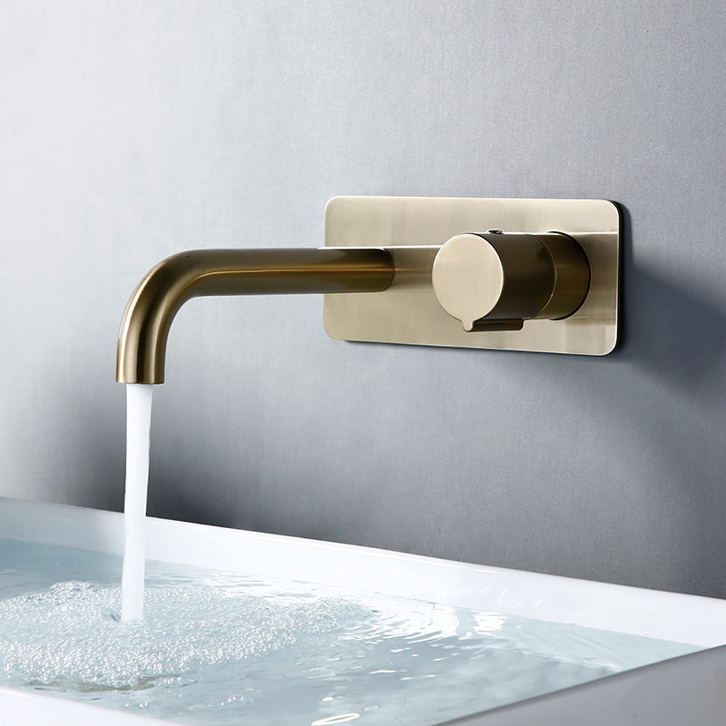 Brushed Gold Wall Mount Lavatory Faucet Single Lever 18221-1
