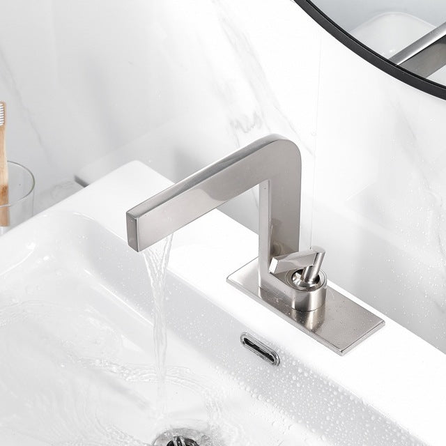 Black-Brushed Nickel-Chrome Single Hole Lavatory Faucet Faucet XT-434