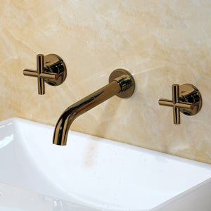 Wall Sink Basin Mixer Tap Set Bathroom Spout Faucet With Double Lever In Matt Black/Polished Gold