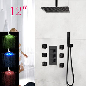Matte Black Thermostatic LED Rain Head - 3 Way Diverter Shower System with Hand Held Sprayer and 6 Body Jets Massage Kit