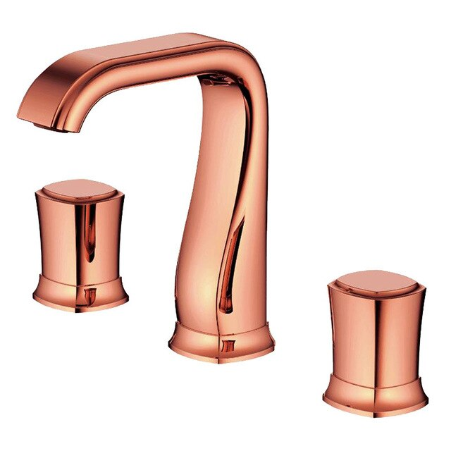 Black with Rose Gold 8 Inch Wide Spread lavatory Faucet