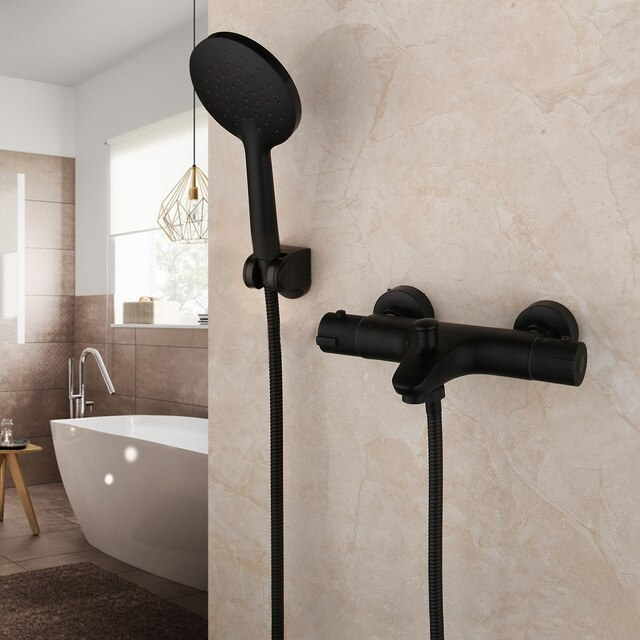 Matte Black Bathtub Faucets Thermostatic Mixer Faucet Constant Temperature Shower Mixer Tap Handheld Bath Shower Set