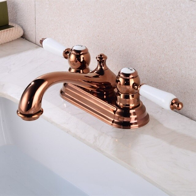 Rose Gold-Gold-Black-Chrome 4 Inch Deck mount Faucet With Porcelain Handles