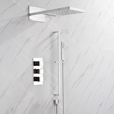 Brushed Gold- Polished Gold- Matte Black Square 2 & 3 Way Thermostatic Waterfall Rain Head Shower Set