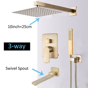 Brushed Gold F 150 Shower With Square Rain Shower Head Option 8 to 16 Inches And 2 or 3 Way Diverter Shower System Hand Held Sprayer