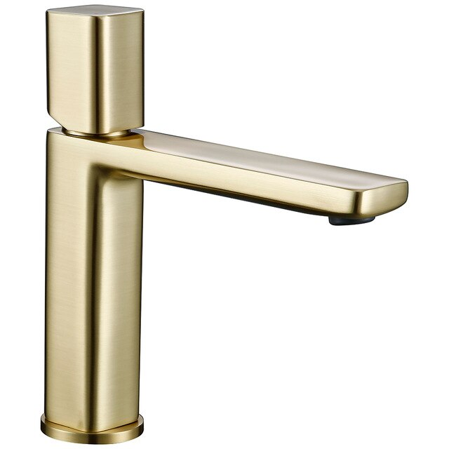 Brushed Gold-White- Chrome Single Hole Bathroom Lavatory Faucet