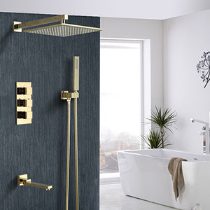 Polished Gold- Brushed Gold 3 Way Thermostatic Wall and ceiling Mount Completed Shower Kit