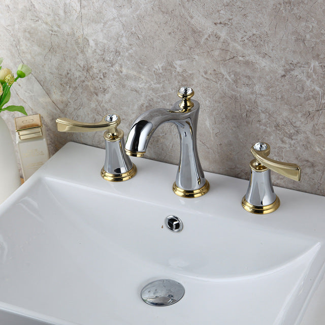 Black and Gold 8 Inch Wide Spread Lavatory Faucet With Diamonds Decor Handles