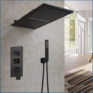 Matte Black Waterfall - Rain LCD Temperature Display 2 Way Pressure Balance Shower Completed Set