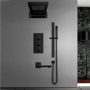 Black Thermostatic Shower Faucets Set Rain Waterfall Head Wall Holder Mixer Tap Bath 4-way Thermostatic Shower Faucet