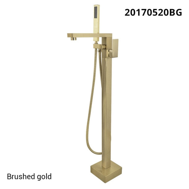 Rose Gold, Matte Black, Brushed Gold, Chrome , Brushed Nickel Freestanding Bathtub Filler