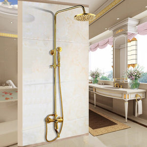 Polished Gold Exposed Antique Victoria Style With Porcelain Handle 3 Way Shower Sytem