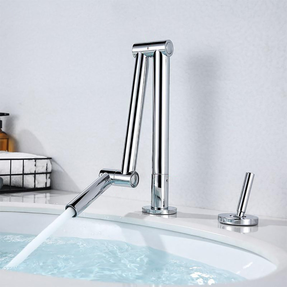 Chrome Modern Design Single Hole Bathroom Faucet  Deck Mount