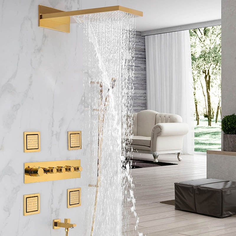 Polished Gold  Waterfall- Rain Head Shower Thermostatic 4 Way Complete System Set