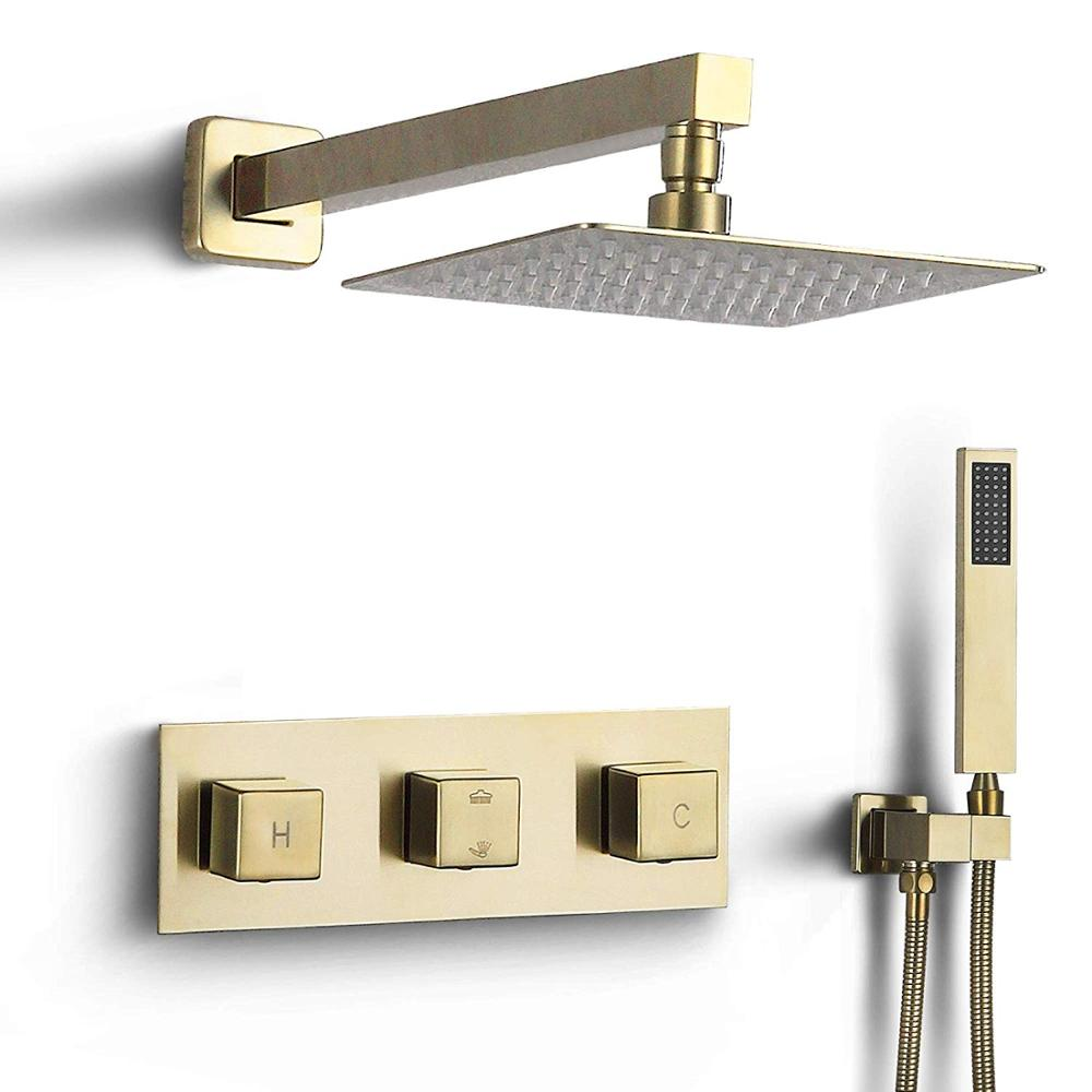 Brushed Gold Square Handles and 8 or 10 Inch Rain Head 2 Way Mixer Thermostatic Shower Kit