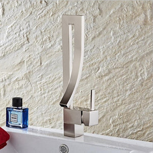 Rose Gold Brass Single Hole Bathroom Faucet Square