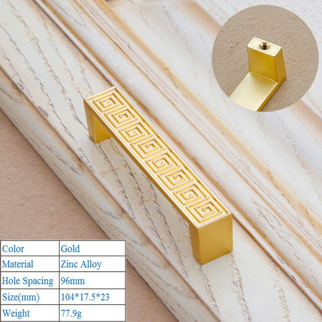 Bushed Gold Door Handles Zinc Alloy Cabinet Handle Drawer Knobs Chinese Classical Wardrobe Pulls Kitchen Handle Furniture Hardware