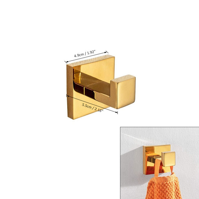 Gold Polished Bathroom Accessories Set