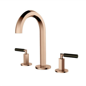 Polished Rose Gold Two Tone 8 Inch Wide Spread Faucet