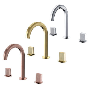Rose Gold/Gold/Chrome 8 Inch Wide Spread Bathroom Faucet