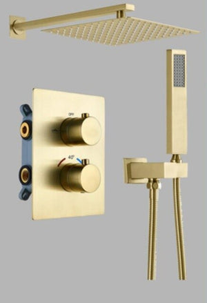 Polished Rose Gold - Gold 2 and  3 Way Thermostatic Shower Completed Set