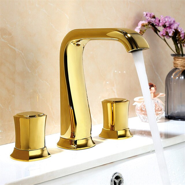 Two Tone Black with Rose Gold-Polished Gold- Polished Rose Gold- Matte Black- Chrome   8 Inch Widespread Lavatory Faucet
