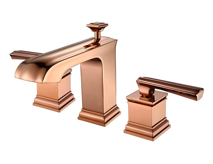 Polished Rose Gold 8 Inch Wide Spread Lavatory Faucet