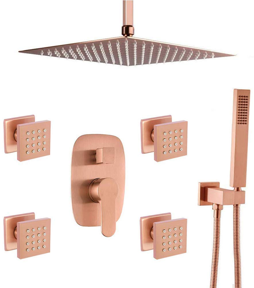 "Brushed Gold Shower Kit with 12"" Rain Shower Head Set and Body Jets"