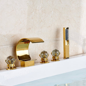 Gold Waterfall With Crystal Handles 5 Pieces Deck Mount Bathtub Filler Completed Set