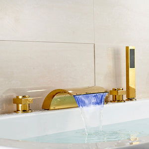 Gold Polished LED Light Waterfall Spout Tub Faucet 3 Handles Mixer Tap