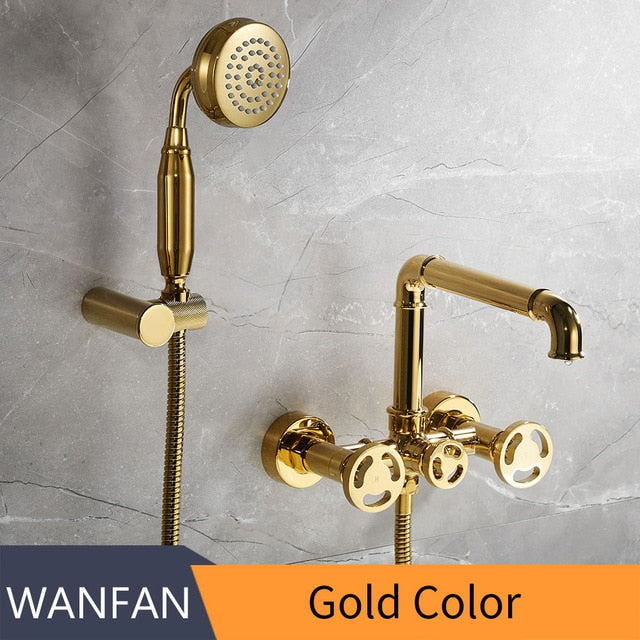 Polished Gold Antique Bathtub Filler With 2 Round Wheel Handles  20E01