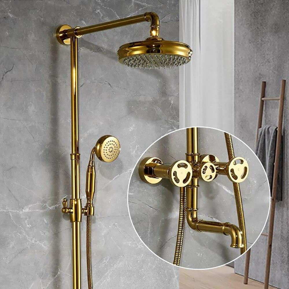 Brushed gold exposed shower panel system