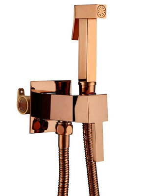 Polished Square Rose Gold Titanium Copper Copper Wall-Mounted Bracket Hose Integrated Concealed Buried Bidet Set Faucet