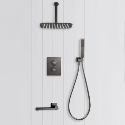 Gunmetal luxury bathroom wall shower kit Gun grey bath tap wall type concealed constant  shower set embedded thermostatic shower