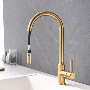 Brushed Gold Pull Out Dual Mode Kitchen Faucet