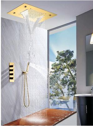 Gold LED Waterfall and Rain Head 3 or 4 Way Mixer Valve Thermostatic Shower Kit