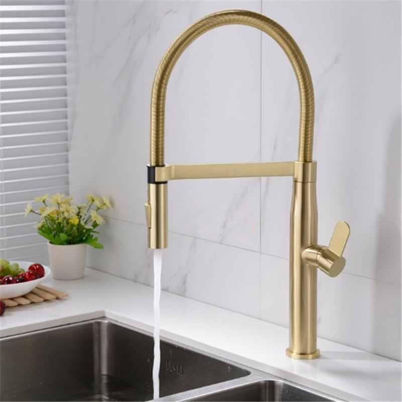 Brushed Gold- Matte Black Tall Kitchen Island Dual Pull Out Kitchen Faucet